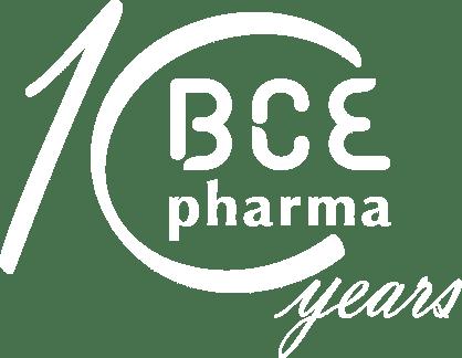Logo BCE Pharma 10 ans blanc